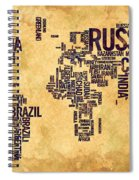 World Map Typography 6 Watercolor Painting Spiral Notebook