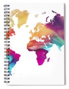 World Map Watercolor Spiral Notebook