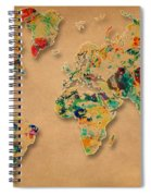 World Map Watercolor Painting 2 Spiral Notebook