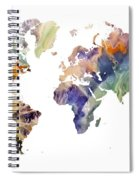 World Map Watercolor Painting Spiral Notebook