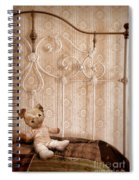 Worn Teddy Bear On Brass Bed Spiral Notebook