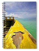Worn Yellow Fishing Boat Of Aruba Spiral Notebook