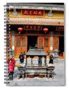 Worshipers In Urn Courtyard Of Chinese Temple Shanghai China Spiral Notebook