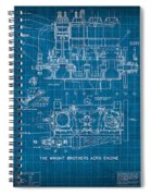 Wright Brothers Aero Engine Vintage Patent Blueprint Spiral Notebook