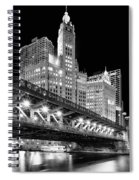 Wrigley Building At Night In Black And White Spiral Notebook