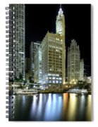 Wrigley Building At Night  Spiral Notebook