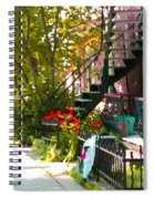 Wrought Iron Fence Balcony And Staircases Verdun Stairs Summer Scenes Carole Spandau  Spiral Notebook