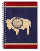 Wyoming State Flag Art On Worn Canvas Spiral Notebook
