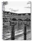 Yacht And Beach Club After The Rain In Black And White Walt Disney World Spiral Notebook