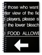 Yankee Stadium Lower Bleachers Sign Spiral Notebook
