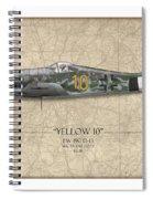Yellow 10 Focke-wulf Fw190d - Map Background Spiral Notebook