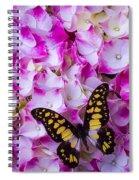 Yellow Black Butterfly On Hydrangea Spiral Notebook