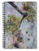 Yellow Blossoms Painting Flowr Butterflies Art Abstract Modern Spring Color Flower Art Spiral Notebook