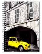 Yellow Deux Chevaux In Shadow Spiral Notebook