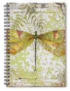 Yellow Dragonfly On Vintage Tin Spiral Notebook