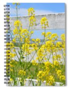 Yellow Flowers And A White Fence Spiral Notebook