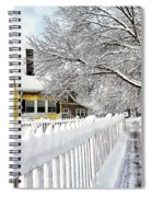 Yellow House With Snow Covered Picket Fence Spiral Notebook