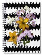 Yellow Lilies On Black And White Zigzag Spiral Notebook