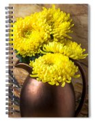 Yellow Mums In Copper Vase Spiral Notebook