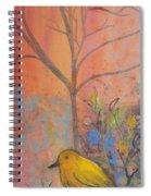 Yellow Peace Bird On Orange Spiral Notebook
