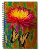 Yellow Red Mum With Yellow Black Butterfly Spiral Notebook