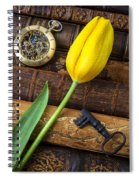 Yellow Tulip On Old Books Spiral Notebook