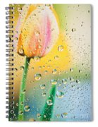 Yellow Tulip Reflecting In Water Drops Spiral Notebook