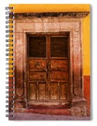 Yellow Wall Wooden Door Spiral Notebook