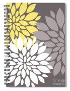 Yellow White Grey Peony Flowers Spiral Notebook