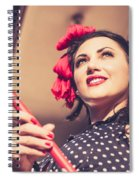 Young 50s Brunette Housewife Holding Red Mop Spiral Notebook