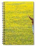 Young Boy Running Through Field Of Spiral Notebook