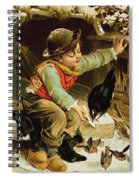 Young Boy With Birds In The Snow Spiral Notebook