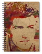 Young Clint Eastwood Actor Watercolor Portrait On Worn Parchment Spiral Notebook
