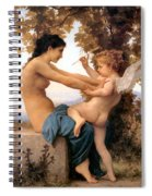 Young Girl Defending Herself Against Cupid Spiral Notebook