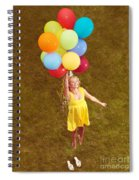 Young Happy Woman Flying On Colorful Helium Balloons Spiral Notebook