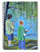 Young Lads Fishing Spiral Notebook
