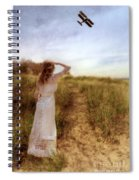 Young Lady In Vintage Clothing Watching A Biplane Spiral Notebook