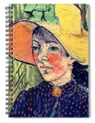 Young Peasant Girl In A Straw Hat Sitting In Front Of A Wheatfield Spiral Notebook