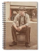 Young Vintage Man Seated On Old Tv Spiral Notebook