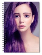 Young Woman Anime Style Beauty Portrait With Large Eyes And Purp Spiral Notebook