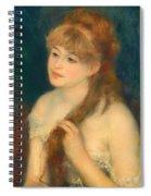 Young Woman Braiding Her Hair Spiral Notebook