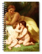 Young Woman Contemplating Two Embracing Children Spiral Notebook