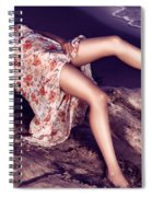 Young Woman In Dress Lying On Driftwood On A Shore Spiral Notebook