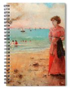 Young Woman With Red Umbrella Spiral Notebook