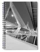 Zakim Bridge Twilight In Boston Bw Spiral Notebook