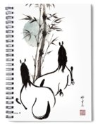 Zen Horses Moon Reverence Spiral Notebook