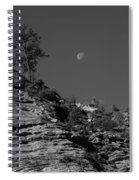 Zion National Park And Moon In Black And White Spiral Notebook