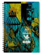 3 Caged Birds Grunge Spiral Notebook