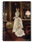 Interior Scene With A Lady In A White Evening Dress  Spiral Notebook