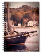 Old Ship Docked On The River Spiral Notebook